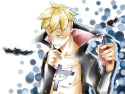 1boy bat blonde_hair fangs glass halloween male marco one_piece open_shirt solo tattoo vampire whitebeard_pirates