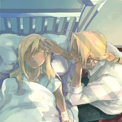 2boys alphonse_elric bed bed_sheet blonde_hair braid brothers duthcjs edward_elric eyes_closed fullmetal_alchemist hand_on_own_cheek intravenous_drip long_hair looking_at_another male_focus multiple_boys open_mouth pillow shirt siblings sleeping sunlight touching_forehead white_shirt yellow_eyes