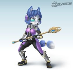 10s 1girl 2016 3d belt blue_hair bodysuit boots english_text fingerless_gloves footwear fox fur furry gem gloves green_eyes hair_ornament headband headset holster jewelry krystal necklace nintendo short_hair smile solo staff star_fox super_smash_bros. text weapon