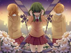 1boy 2girls artist_name black_legwear blonde_hair blush building collared_shirt crying eyes_closed facing_away field flower flower_field green_hair gumi hands_on_own_head hood hoodie iede_no_shounen_to_maigo_shoujo kagamine_len kagamine_rin long_hair long_sleeves multiple_girls neck_ribbon open_mouth orange_sweater over-kneehighs plaid plaid_skirt pleated_skirt railroad_crossing red_ribbon red_skirt ribbon shirt silhouette skirt standing sweater tensei_shoujo_to_tensei_shounen thighhighs vocaloid white_shirt wing_collar yunare