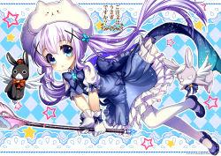 1girl abondz blue_eyes gloves gochuumon_wa_usagi_desu_ka? highres kafuu_chino long_hair pantyhose purple_hair solo staff