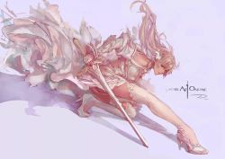 1girl ass asuna_(sao) bare_shoulders braid high_heels highres ittou long_hair looking_at_viewer panties red_eyes solo sword sword_art_online thighhighs underwear weapon white_hair