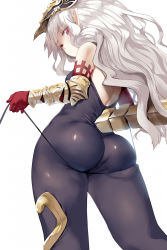 1girl ass bodysuit elbow_gloves eyebrows_visible_through_hair from_behind from_below gloves granblue_fantasy headpiece hews_hack looking_back medusa_(shingeki_no_bahamut) pointy_ears red_eyes red_gloves shingeki_no_bahamut silver_hair simple_background skindentation solo string tail vambraces white_background