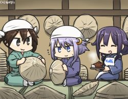 3girls ahoge apron brown_hair commentary crescent crescent_hair_ornament cup dated flying_sweatdrops hair_between_eyes hair_ornament hair_ribbon hamu_koutarou hat head_scarf kantai_collection long_hair low_twintails multiple_girls purple_hair ribbon short_hair_with_long_locks sidelocks taigei_(kantai_collection) teacup teapot tone_(kantai_collection) tray twintails yayoi_(kantai_collection)