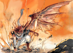 1boy bandaged_arm claws fairy_tail fire highres horns looking_at_viewer mashima_hiro monster_boy natsu_dragneel official_art rock scaly_skin scarf single_wing solo spiked_hair tattoo torn_clothes transformation vest wings