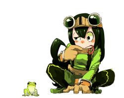 1girl :> animal asui_tsuyu belt black_eyes black_hair blush_stickers bodysuit boku_no_hero_academia brown_gloves finger_to_mouth frog frog_girl gloves goggles goggles_on_head hair_ribbon harape highres long_hair low-tied_long_hair ribbon solo squatting tongue tongue_out uneven_eyes
