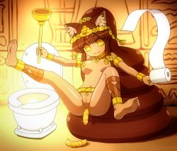 animal_ears artist_request bling bottomless brown_hair censored feet gold gold_eyes jewelry plunger scat toilet toilet_paper what