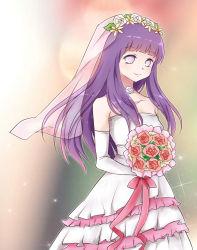 1girl bangs bare_shoulders bouquet choker dress elbow_gloves flower gloves hyuuga_hinata lavender_eyes long_hair looking_at_viewer naruto naruto_shippuuden purple_hair smile solo veil wedding_dress
