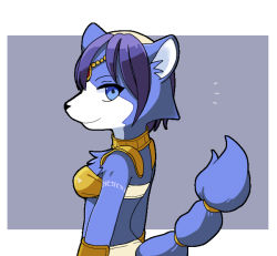 1girl blue_hair furry krystal nintendo simple_background solo star_fox tail