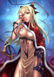 1girl bare_shoulders black_bow blonde_hair blood blood_on_face bow breasts brown_eyes cape christmas cleavage drag-on_dragoon drag-on_dragoon_3 dress flower flower_eyepatch gauntlets hair_bow hair_ornament hair_over_one_eye highres long_hair navel santa_costume solo sword tatsuya_(atelier_road) tongue tongue_out weapon white_dress zero_(drag-on_dragoon)