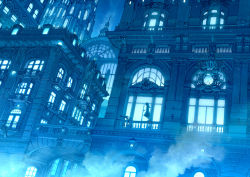 1girl blue building cat city clock dark dress dutch_angle from_below kaitan lights long_hair night original railing revision scenery silhouette sky steam
