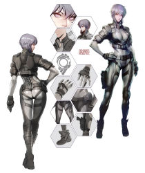 1girl ass bangs belt bodysuit breasts full_body ghost_in_the_shell gloves grey_hair gun hand_on_hip highres jacket kusanagi_motoko looking_at_viewer looking_back medium_breasts multiple_views purple_eyes short_hair simple_background skin_tight standing turnaround weapon white_background