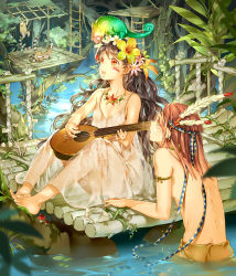 1boy 1girl animal_on_head back bare_shoulders barefoot brown_hair chameleon dress facepaint feathers feet flower freckles hair_flower hair_ornament hairband highres instrument jewelry ladder lemur long_hair looking_away nature necklace open_mouth orange_eyes original outdoors partially_submerged plant playing_instrument see-through shirtless short_hair sitting sleeveless small_breasts spaghetti_strap starpri toes tree tribal very_long_hair vines wading water wavy_hair wet