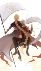 1boy 1girl armor ass back balance_scale blonde_hair braid cape dark_skin fate/apocrypha fate_(series) flag full_body highres kotomine_shirou long_hair looking_at_viewer nyakelap ruler_(fate/apocrypha) thighhighs weighing_scale white_hair