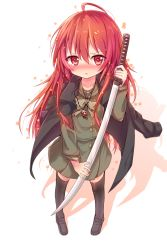 1girl blush coat darnell highres long_hair red_eyes red_hair school_uniform serafuku shakugan_no_shana shana standing sword thighhighs weapon