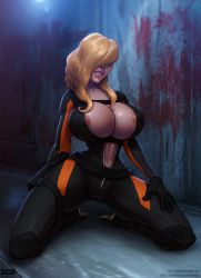 1girl areola_slip barretxiii blonde_hair blood bodysuit breasts capcom cleavage hair_over_eyes huge_breasts kneeling long_hair open_clothes parted_lips rachael_foley resident_evil resident_evil_revelations scuba_suit solo