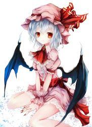 1girl basilis9 bat_wings blue_hair brooch fingernails hat highres jewelry red_eyes remilia_scarlet ribbon short_hair sitting solo touhou wariza wings
