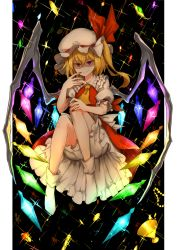 >:) 1girl ascot bangs bent_knees blonde_hair bloomers bobby_socks chalice closed_mouth crystal flandre_scarlet frilled_shirt_collar frills full_body glitter gold hair_between_eyes hat hat_ribbon highres jewelry kan_(aaaaari35) knees_up looking_at_viewer mob_cap nail_polish petticoat puffy_short_sleeves puffy_sleeves red_eyes red_nails red_ribbon red_skirt red_vest ribbon ring shaded_face short_sleeves side_ponytail skirt socks solo sparkle touhou underwear vest white_legwear wings