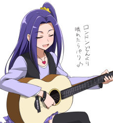 1girl acoustic_guitar ashita_no_nadja black_legwear company_connection eyes_closed guitar instrument kurokawa_eren parody precure purple_hair purple_skirt seiren_(suite_precure) side_ponytail simple_background sitting skirt solo suite_precure thighhighs touei translated vest white_background youkan