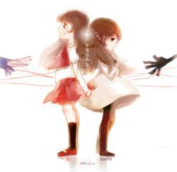 2girls amozoe back-to-back brown_hair crossover deemo deemo_(character) full_body garry_(ib) girl_(deemo) ib ib_(ib) multiple_girls reaching skirt standing