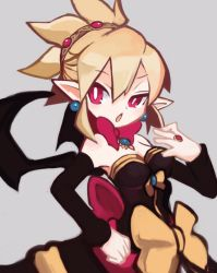 1girl arm_warmers blonde_hair bow bright_pupils disgaea dress earrings grey_background jewelry kazamine_(stecca) makai_senki_disgaea_2 open_mouth pointy_ears red_eyes ribbon ring rozalin short_hair solo strapless_dress wings