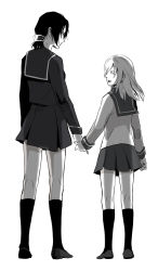 2girls christa_renz eyes_closed full_body ga-rei ga-rei_zero hand_holding highres isayama_yomi isayama_yomi_(cosplay) monochrome multiple_girls school_uniform serafuku shingeki_no_kyojin short_hair silvis smile standing tsuchimiya_kagura tsuchimiya_kagura_(cosplay) white_background ymir_(shingeki_no_kyojin)