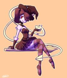 1girl blue_skin broom female fingerless_gloves gloves hair_over_one_eye halloween leviathan_(skullgirls) monster_girl red_eyes short_dress side_ponytail skullgirls smile squigly_(skullgirls) stitched_mouth stitches striped_legwear striped_sleeves witch_hat zombie