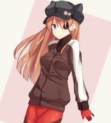 1girl animal_hat blue_eyes bodysuit cabbie_hat cat_hat cowboy_shot evangelion:_3.0_you_can_(not)_redo eyepatch hat highres long_hair looking_at_viewer neon_genesis_evangelion orange_hair plugsuit rebuild_of_evangelion revision shuuichi solo soryu_asuka_langley soryu_asuka_langley track_jacket