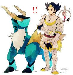 armor black_hair blue_eyes brown_eyes cobalion gampi_(pokemon) hooves horns klefki pokemon