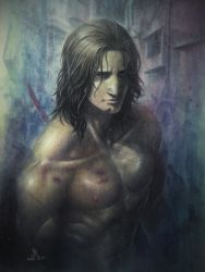 1boy absurdres dated futon_saru hair_down highres katana metal_gear_(series) metal_gear_rising:_revengeance no_beard samuel_rodrigues shirtless signature solo sweat sword weapon