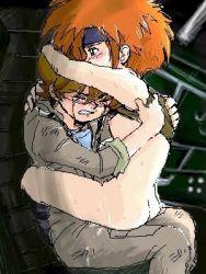 1boy 1girl ass breasts brown_hair gundam gundam_08th_ms_team kiki_rosita michel_ninorich military_uniform nipples nude orange_hair tears