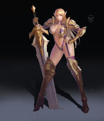 1girl absurdres armor bikini_armor blonde_hair blue_eyes elf garter_straps gluteal_fold goldengear870 greaves highres long_hair looking_to_the_side navel pauldrons pointy_ears shadow single_thighhigh solo thighhighs two-handed_sword