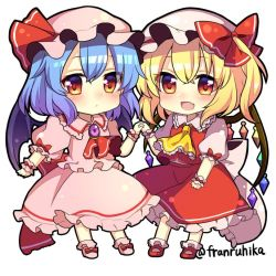 2girls ascot bat_wings blonde_hair blue_hair blush bow brooch chibi crystal fang flandre_scarlet frilled_shirt_collar frills full_body hand_holding hat hat_bow hat_ribbon interlocked_fingers jewelry looking_at_viewer mob_cap multiple_girls puffy_short_sleeves puffy_sleeves red_bow red_eyes red_ribbon remilia_scarlet ribbon ruhika short_hair short_sleeves siblings side_ponytail sisters skirt skirt_set touhou twitter_username white_background wings