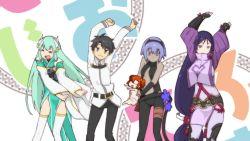 >_< 1boy 4girls arms_up assassin_(fate/prototype_fragments) breasts chibi_inset dancing eyes_closed fate/grand_order fate_(series) fujimaru_ritsuka_(female) fujimaru_ritsuka_(male) i.u.y kono_subarashii_sekai_ni_shukufuku_wo! large_breasts long_hair looking_at_viewer minamoto_no_raikou_(fate/grand_order) multiple_girls parody pelvic_curtain short_hair small_breasts style_parody uniform