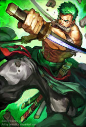 1boy abs armband baggy_pants clothes_around_waist earrings fighting_stance green_hair james_ghio jewelry manly mouth_hold muscle one_eye_closed one_piece pants reverse_grip roronoa_zoro scabbard scar scar_across_eye sheath shirtless short_hair solo stitches triple_wielding watermark