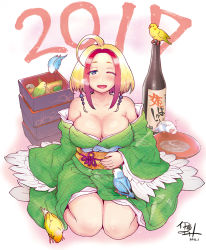 1girl 2016 2017 ;d ahoge alcohol artist_name bangs bare_shoulders bird blonde_hair bottle breasts cleavage cup dated full_body gradient_background happy itou_eito japanese_clothes kimono kimono_pull large_breasts looking_at_viewer new_year no_bra obentou obi off_shoulder one_eye_closed open_mouth original purple_eyes red_hair sakazuki sake sake_bottle short_hair signature simple_background sitting smile solo two-tone_hair wariza