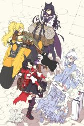 4girls alternate_costume backpack_travel black_hair blake_belladonna blonde_hair commentary_request crescent_rose gambol_shroud harbor luggage multiple_girls myrtenaster ruby_rose rwby suitcase sunglasses weiss_schnee welsh_corgi white_hair yang_xiao_long zwei_(rwby)