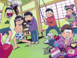6+boys :> :3 :d :q animal_hat baseball_cap blush boxers brothers brown_eyes brown_hair cat_hat cellphone chin_stroking chocolate chocolate_bar dutch_angle fan fishing_rod grin hashimoto_nyaa hat heart heart_in_mouth hood hoodie lying male_focus matsuno_choromatsu matsuno_ichimatsu matsuno_juushimatsu matsuno_karamatsu matsuno_osomatsu matsuno_todomatsu mouth_hold multiple_boys official_art on_stomach open_mouth osomatsu-kun osomatsu-san paintbrush paper_fan phone pot sextuplets siblings sleeves_past_wrists smartphone smile sunglasses tongue tongue_out uchiwa underwear valentine