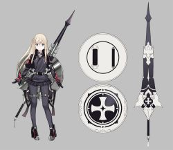 10s 1girl alternate_costume blonde_hair blue_eyes character_sheet commentary_request cropped_jacket full_body grey_background high_heels highres iron_cross kantai_collection lance long_hair long_sleeves microskirt pleated_skirt polearm ruisento shield simple_background skirt solo standing u-511_(kantai_collection) weapon weapon_on_back