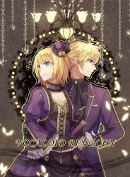 1boy 1girl blonde_hair blue_eyes breasts brother_and_sister chains chandelier character_name choker cleavage copyright_name flower formal hat hat_flower kagamine_len kagamine_rin lace-trimmed_sleeves reking short_hair siblings suit twins vocaloid