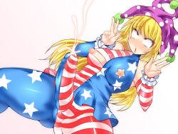 1girl blonde_hair bound clownpiece futanari gradient_background hisui_(stapspats) pussy solo tagme touhou