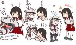 2girls akagi_(kantai_collection) betchan blonde_hair blue_eyes blush brown_eyes brown_hair cleaning cleaning_face commentary eyes_closed graf_zeppelin_(kantai_collection) handkerchief hat japanese_clothes kantai_collection long_hair military military_uniform multiple_girls numbered skirt sparkle steam thighhighs translation_request twintails uniform white_background