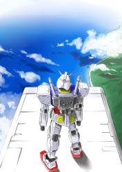 artist_request clouds gundam mecha mobile_suit_gundam rx-78-2 sea water