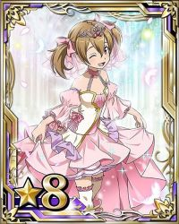 bare_shoulders bow breasts brown_eyes brown_hair card_(medium) cleavage hair_between_eyes hair_bow number one_eye_closed open_mouth pink_bow short_hair short_twintails silica skirt skirt_hold small_breasts star sword_art_online thighhighs twintails