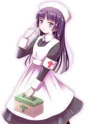1girl black_hair dress first_aid_kit gokou_ruri hat herunin highres long_hair nurse nurse_cap ore_no_imouto_ga_konna_ni_kawaii_wake_ga_nai purple_eyes