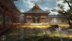 a-shacho architecture bridge cloud damaged east_asian_architecture flower highres leaf lily_pad no_humans original rope scenery shide shimenawa shrine signature sky tree water wind