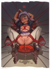 1girl alphonse_(white_datura) anus apron areolae arms_up ball_gag bdsm bondage breasts brown_hair chair collar cuffs dress gag glasses highres leash maid maid_headdress nipples open_clothes open_dress original peeing puffy_short_sleeves puffy_sleeves purple_eyes pussy restrained shackles short_sleeves sitting slave small_breasts solo spread_legs thighhighs tied_up waist_apron white_legwear