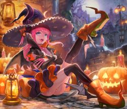 1girl blue_eyes candle dragon_tail elizabeth_bathory_(fate/grand_order) fangs fate/grand_order fate_(series) halloween highres horns jack-o'-lantern lack lancer_(fate/extra_ccc) lantern long_hair panties pink_hair pink_panties pointy_ears pointy_shoes shoes smile solo striped striped_panties tail underwear