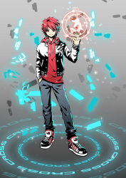 1boy casual elsword elsword_(character) energy grey_background hand_in_pocket hoodie male pants red_eyes red_hair redclow shirt shoes smile solo standing