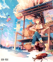 1girl acoustic_guitar balloon beetle bench brown_hair bug bus_stop cloud cloudy_sky denim dog eyes_closed from_below guitar hair_ornament instrument jeans jewelry kirero necklace original outdoors pants playing_instrument rain shirt singing sitting sky solo tree